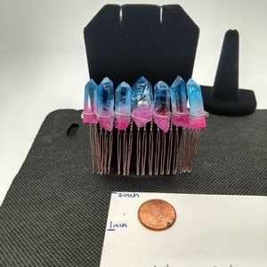 Handmade healing crystal quartz hair comb